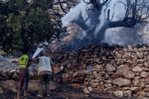 بالصور: عناصر مركز رسم الحدث يخمدون عدد من الحرائق في في بلدة حربتا ووادي فعرا