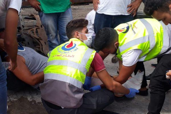 فرق الدفاع المدني - الهيئة تتصدى لحادث سير وقع في بلدة طير دبا