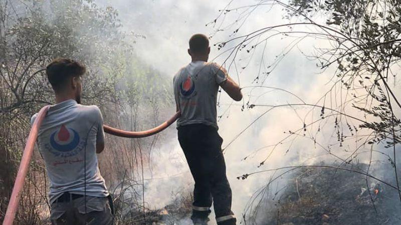 إخماد حريق اعشاب على طريق عام طيردبا -طورا