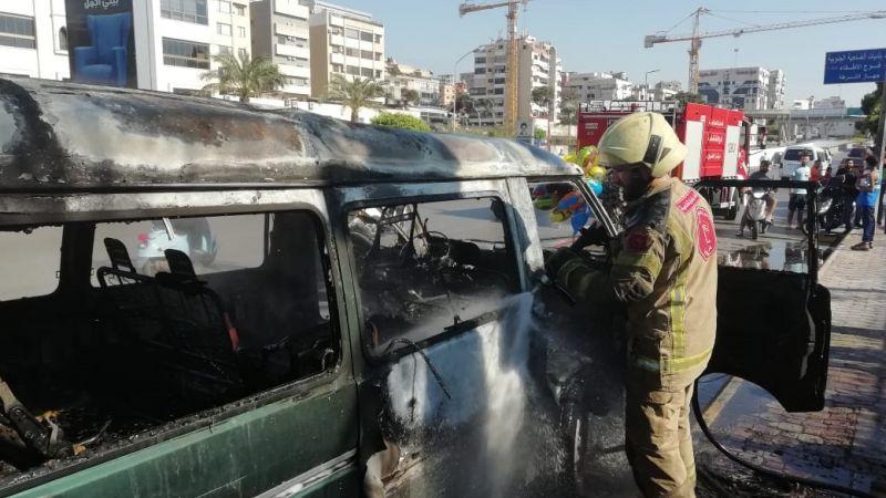 فوج اطفاء الضاحية يخمد حريقاً على طريق المطار