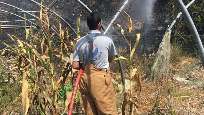 اخماد حريق اعشاب في بلدة الخرايب (حي القلع)