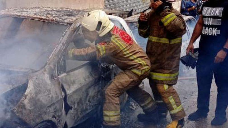 فوج اطفاء الضاحية يخمد  حريقاً شب في سيارتين في منطقة الاوزاعي