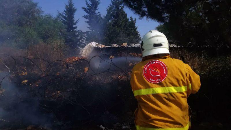 فوج اطفاء بنت جبيل يخمد 3 حرائق في بلدات حداثا وحانين وبرعشيت