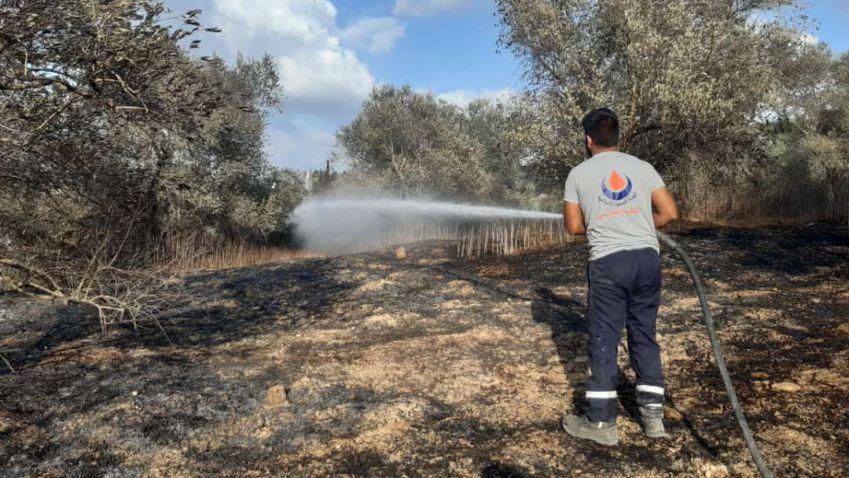 إخماد حريق كبير في بلدة ديرقانون النهر